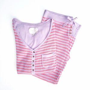 Victoria's Secret Metallic Stripe Thermal PJ Set